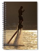 Flyboarder And Water Droplets Backlit At Sunset Spiral Notebook