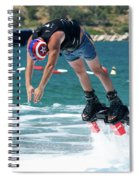 Flyboarder Bending Over To Dive Into Water Spiral Notebook