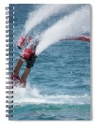 Flyboarder In Red Entering Water With Spray Spiral Notebook