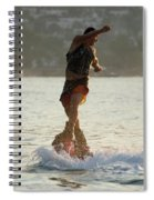 Flyboarder Twisting Upper Body Just Above Waves Spiral Notebook