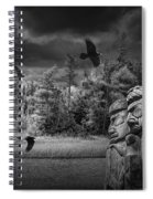 Flying Ravens And Totem Poles In Black And White Spiral Notebook