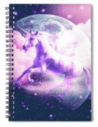 Flying Space Galaxy Unicorn Spiral Notebook
