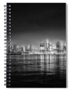Fog Shrouded Midtown Manhattan In Black And White Spiral Notebook