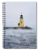 Foggy Day At The Lighthouse Spiral Notebook