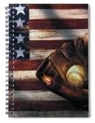 Folk Art American Flag And Baseball Mitt Spiral Notebook