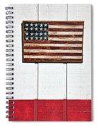 Folk Art American Flag On Wooden Wall Spiral Notebook