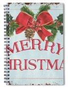 Folk Merry Christmas Spiral Notebook