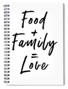 Food Family Love White- Art By Linda Woods Spiral Notebook