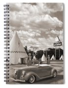Ford Roadster At An Indian Gas Station Sepia Spiral Notebook