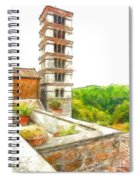 Foreshortening With Bell Tower And Wood Spiral Notebook