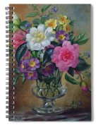 Forget Me Nots And Primulas In Glass Vase Spiral Notebook