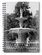 Forsyth Park Fountain Black And White With Vignette Spiral Notebook
