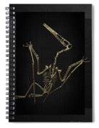 Fossil Record - Gold Pterodactyl Fossil On Black Canvas #4 Spiral Notebook