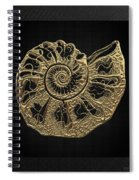 Fossil Record - Golden Ammonite Fossil On Square Black Canvas #4 Spiral Notebook