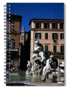 Fountain Depicting Neptune The Piazza Navona The Spire Of The Church Of Santa Maria Della Pace Rome Spiral Notebook