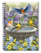 Fountain Festivities - Birds And Birdbath Painting Spiral Notebook