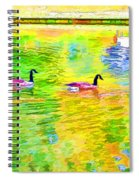 Four Canadian Geese In The Water 1 Spiral Notebook