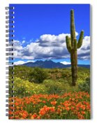 Four Peaks And Poppies, Springtime, Arizona Spiral Notebook