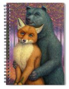 Fox And Bear Couple Spiral Notebook