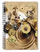 Fragmented Clockwork In The Sand Spiral Notebook