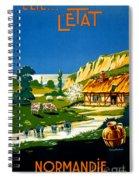 France Normandy Vintage Travel Poster Restored Spiral Notebook