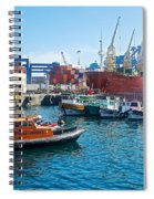 Freighter And Shipping Containers In Port Of Valpaparaiso-chile Spiral Notebook