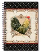 French Country Roosters Quartet Black 3 Spiral Notebook