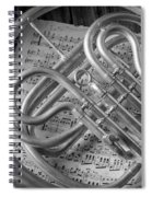French Horn In Black And White Spiral Notebook