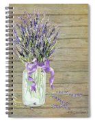 French Lavender Rustic Country Mason Jar Bouquet On Wooden Fence Spiral Notebook