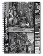 French Quarter Musicians Collage Bw Spiral Notebook
