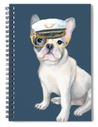 Frenchie French Bulldog Yellow Glasses Captains Hat Dogs In Clothes Spiral Notebook
