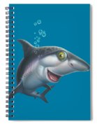 friendly Shark Cartoony cartoon under sea ocean underwater scene art print blue grey  Spiral Notebook