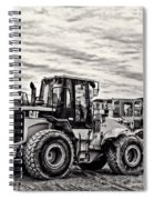 Front End Loader Black And White Spiral Notebook