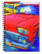 Front View Of Red Retro Car  Spiral Notebook