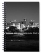 Ft. Worth Texas Skyline Dusk Black And White Spiral Notebook