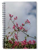 Fuchsia Mexican Coral Vine On White Clouds Spiral Notebook