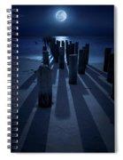 Full Moon Over Naples Pier In Naples, Fl Spiral Notebook