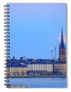 Full Moon Rising Over Gamla Stan Churches In Stockholm Spiral Notebook
