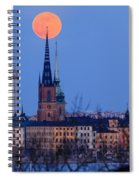 Full Moon Rising Over Gamla Stan In Stockholm Spiral Notebook