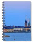 Full Moon Rising Over The Trio Of Gamla Stan Churches In Stockholm Spiral Notebook