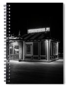 Funicular Ticket Booth At Night In Black And White Spiral Notebook