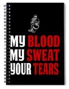 Funny Baseball Pitcher Design My Blood Spiral Notebook