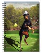 funny pet scene tennis playing Doberman Spiral Notebook
