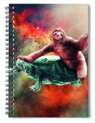 Funny Space Sloth Riding On Turtle Spiral Notebook