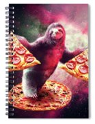 Funny Space Sloth With Pizza Spiral Notebook