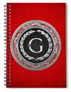 G - Silver Vintage Monogram On Red Leather Spiral Notebook