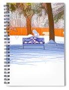 Garden  Bench With Snow Spiral Notebook