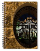 Illuminated Night View - Beautiful Revival House Through A Fence Window Spiral Notebook