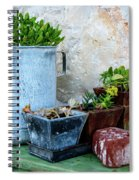 Gardening Pots And Small Shovel Against Stone Wall In Primosten, Croatia Spiral Notebook