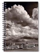 Gathering Clouds Over Lake Geneva Bw Spiral Notebook